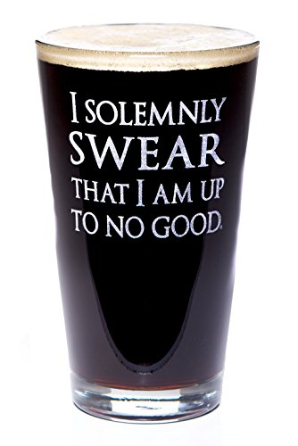 I Solemnly Swear I Am Up To No Good: Harry Potter Inspired Pint Size Beer Glass