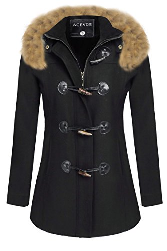 ACEVOG Ladies Womens Duffle Wool Coat Winter Hooded Toggle Jacket Plus Sizes