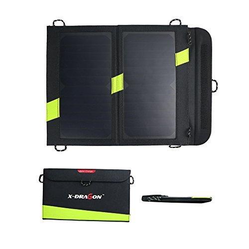 X-DRAGON 14W ソーラーチャージャー 折りたたみ式 2USBポート sunpower ソーラーパネル iPhone / ipad mini / iPod / Samsung / Androidスマートフォン等対応