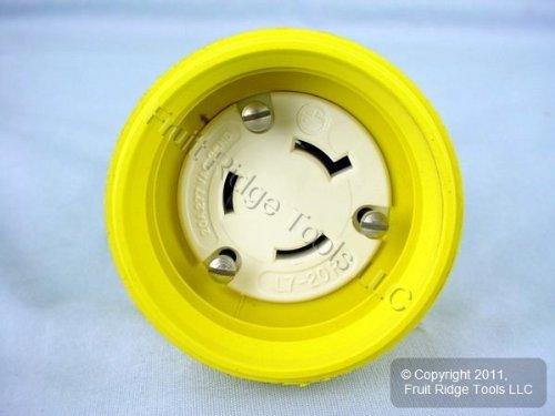 Leviton 27W49 20-Amp, 277-Volt, NEMA L7-20R, 2P, 3W, Locking Connector, Industrial Grade, Grounding, Wetguard, Yellow