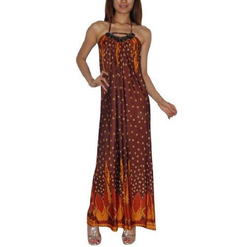 Frauen Thai Exotische Sexy Voll-Länge Elegant Spaghetti-Trägern Langes Kleid / Partykleid - Größe: Medium