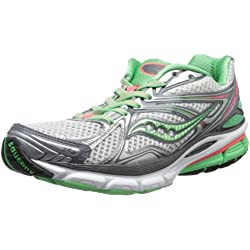 Saucony Women's Hurricane 16 Running Shoe,Grey/Green/Pink,8 W US