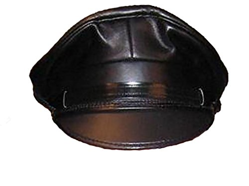 Mr-S-Leather Leather Biker Cap with Matte Black Brim - Hat Size 7 1/8 (22.5