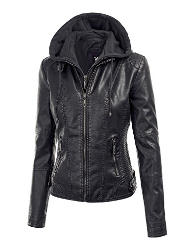 MBJ WJC1044 Womens Faux Leather Quilted Motorcycle Jacket with Hoodie M BLACK