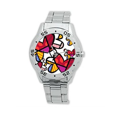 Custom-Romero-Britto-Metal-Watch-Stainless-Steel-Sport-Wristwatch