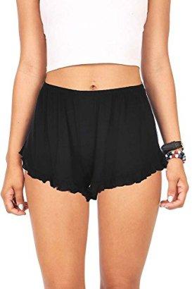 Ambiance-Womens-Juniors-Ultra-Light-Lounging-Ruffle-Shorts-S-Black
