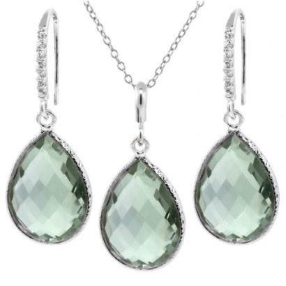 1950-Ct-Green-Amethyst-16x12mm-Pear-Shape-Silver-Pendant-Earrings-Set-18-Chain