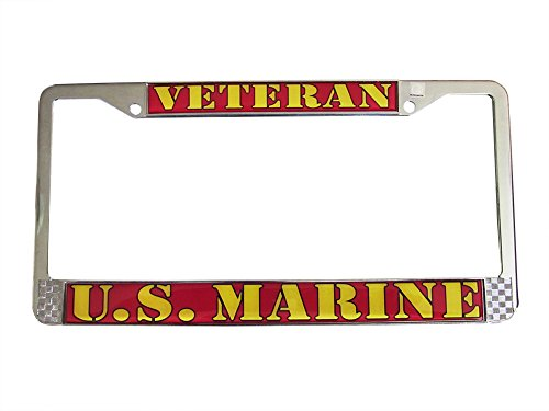 U.S. MARINE VETERAN Auto License Plate Chrome Frame USMC