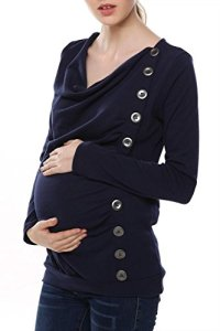 Arshiner-Maternity-Breasted-Long-Sleeve-Cowl-Neck-Solid-Long-Blouse