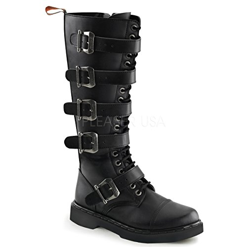 Demonia Unisex Defiant 420 Combat Boots, Black Vegan Leather, 9 M