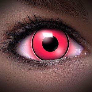 Farbige Kontaktlinsen Crazy Color Fun Contact Lenses 'UV PINK' Topqualität inkl. 50 ml Lenscare Kombilösung und Linsenbehälter
