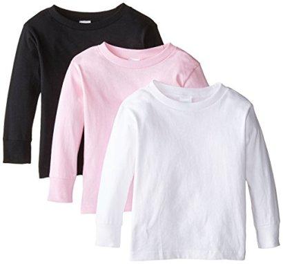 Clementine-Little-Girls-Long-Sleeve-Basic-T-Shirt-Three-PackWhiteBlackPink3T