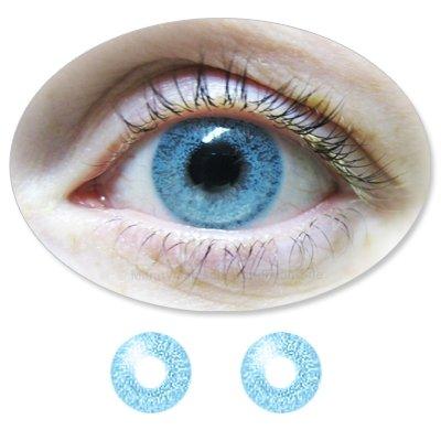 Farbige Kontaktlinsen Monatslinsen Fun ColorMaker CrystalBlue /Kristallblaue mit oder ohne Stärken