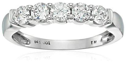 14k-White-Gold-5-Stone-Diamond-Anniversary-Band-12-cttw-H-I-Color-I2-I3-Clarity-Size-8