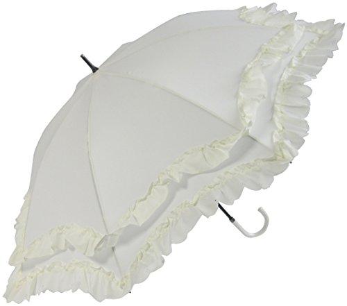 晴雨兼用 日傘 UVカット 紫外線遮蔽率90%以上 2段フリル×ヒートカット加工 ゴシック かわいい 50cm 手開き傘 (生成り)