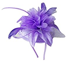 AM CLOTHES Womens Elegant Feather with Netting Mesh Fascinator (D-Purple)