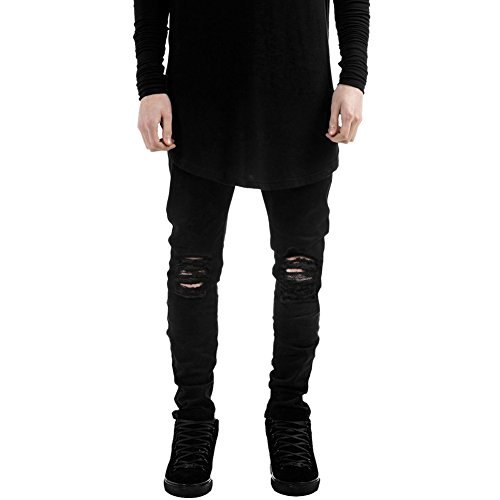 LAEMILIA Männer Slim Fit Schwarz Stretch Destroyed Jeanshose Denim Jeans Hose (EU XL, Schwarz)