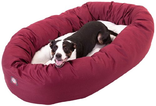 Majestic Pet 40-Inch Sherpa Bagel Bed for Pets, Burgundy