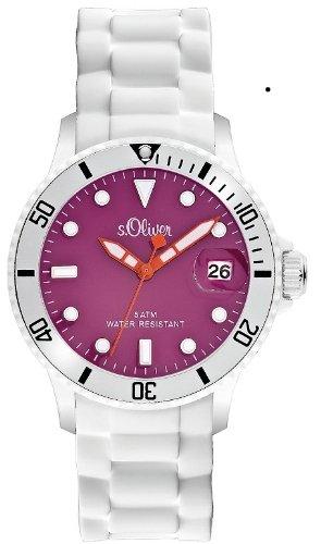 s.Oliver Damen-Armbanduhr Silikon weiß bunt Analog Quarz SO-2149-PQ