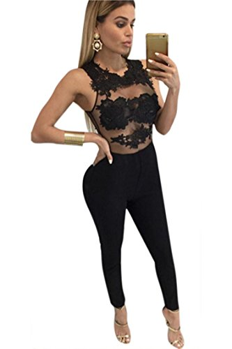ZEARO Damen Sexy Spitze Blumen Jumpsuit Bodysuit Overall Turnanzug Romper lange Hosen