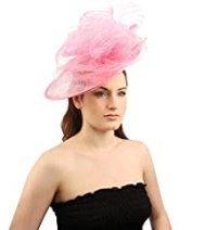 Fancy Derby Disc Swirl Tulle Feather Headband Fascinator Millinery Church Pink