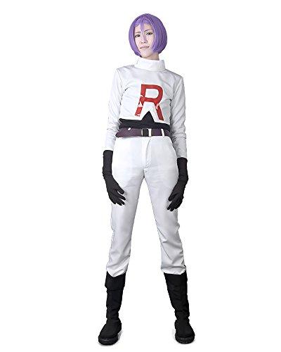 Miccostumes Men's Pokemon Team Rocket James Cosplay Costume Extra Large White