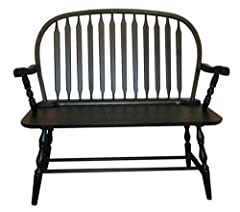 Carolina Cottage Colonial Windsor Bench, Antique Black