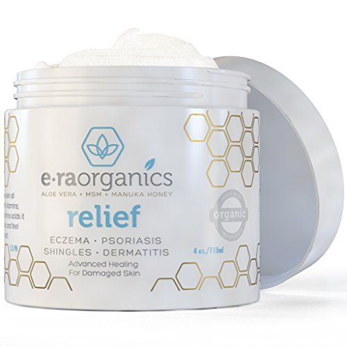 Eczema & Psoriasis Cream by Era Organics (4oz) Advanced Healing Moisturizer for Dry, Sensitive Skin. Unique 10-in-1 Formula with Aloe Vera, Shea Butter, Manuka Honey, Coconut Oil and More • Feed Your Skin All the Different Nutrients It Needs for Optimum Health and Healing. • Perfect for Dermatitis, Rosacea, Shingles and More • Reduce Pain, Itching, Swelling and Redness with Our Paraben-Free, Hypoallergenic, Non-greasy Formula for Instant and Long Term Relief. Satisfaction Guaranteed