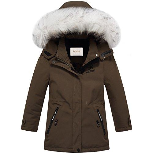 ZOEREA Mädchen Jungen Daunenjacke Winter Lange Jacke Super Warme für Kinder mit Fellkapuze