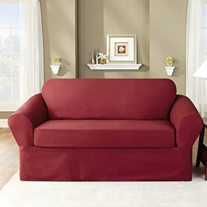 sure fit twill supreme 2 piece sofa slipcover merlot forndedinthei