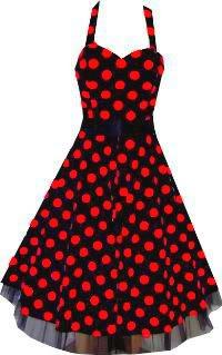 Pretty Kitty Fashion 50s Groß Rot Polka Dot Schwarz Weiß Neckholder Cocktail Kleid