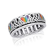 Sterling Silver Celtic Knot and Rainbow Peace Heart Spinning Ring(Sizes 456789101112131415)