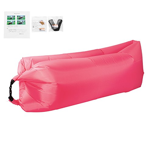 アウトドア ファスト ベッド エア スリップ ソファー 休憩室 アウトドア ベンチ 家具 エアバッグ 寝具  ビームバッグ キャンプ ベンチ WOPOW (ピンク)