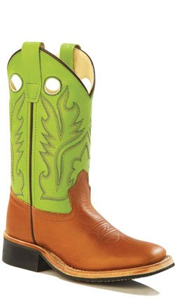 Old West Green Youth Girls Corona Leather Broad Square Toe Cowboy Boots 4.5 D
