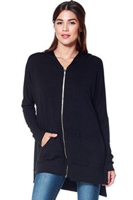 AD-Womens-Oversized-Knit-Zipper-Hoodie-W-High-Side-Slits-Black-Large