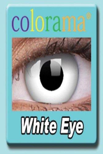 Farbige Kontaktlinsen Crazy Motivlinsen Kostüm Karneval WHITE EYE / WEISS weiß