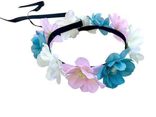 Festie Fever Light Up Blue Cream Pink Flower Crown with 3 Modes