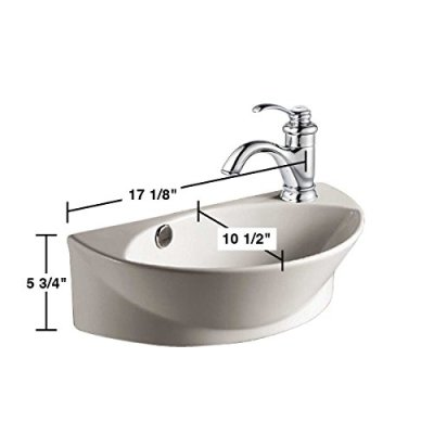 Small White Wall Mount Bathroom Vessel Sink with Single Faucet Hole Overflow Scratch Resistant Dimensions