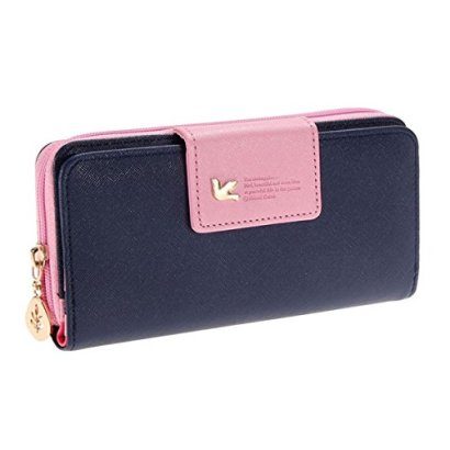 Augur-Womens-Multi-card-Position-Two-Fold-Purse-Long-Zipper-Wallet-Handbag-handbag-Dark-Blue