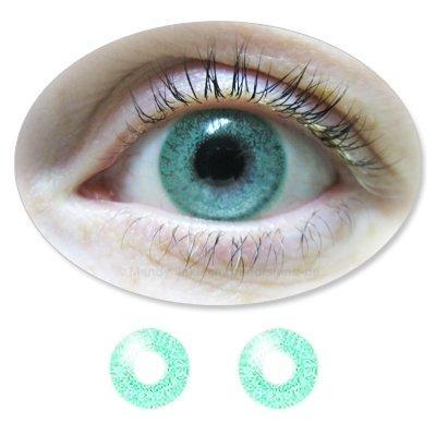 ColorMaker jadegrüne, farbige Kontaktlinsen Monatslinsen Fun JadeGreen ohne Stärken / Dioptrien