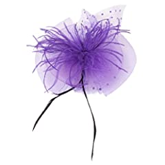 Ladies Wedding Mesh Bowknot Veil Feather Fascinator Hair Clip Purple