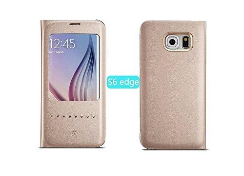 【E-Phone】 SAMSUNG GALAXY S6 Edge ケース サムスン ギャラクシーS6 Edge カバー スマートフォンケース スマートフォンカバー窓付き スリム 薄型 手帳型 au docomo レザーケース (ゴールド)