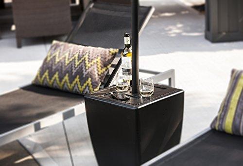 Patio Umbrella Base Stand Side Table Flower Pot Black