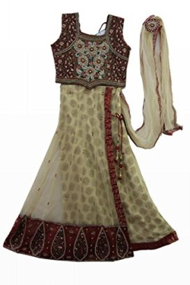 Beige-and-meroon-coloured-kids-party-wear-ghagra-choli-Size-30