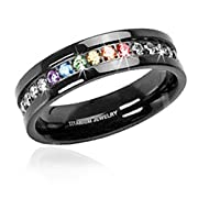 One Jet Black Rainbow Super Full String Clear & Rainbow Ring - Gay & Lesbian Pride Stainless Steel Ring (Great as Gay Gift or Wedding Marriage or Engagement band w/ CZ Stones). GLBT / LGBT Pride Jewelry (8)