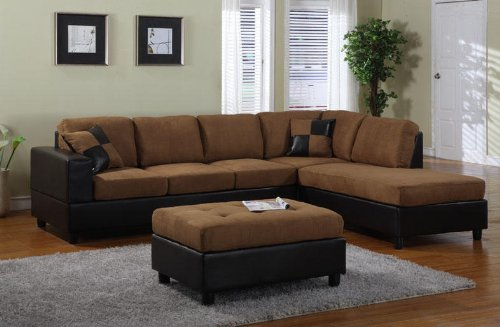 by-tones trim Sectional Sofa in Saddle Finish