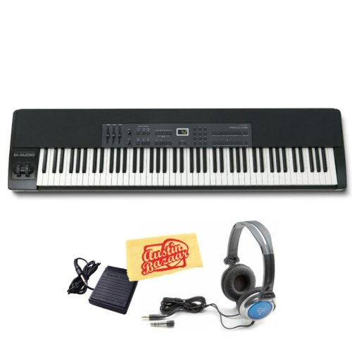 M-Audio ProKeys 88 88-Key Graded Hammer-Action Premium Stage Piano Bundle with Sustain Pedal, Stereo Headphones, and Polishing Cloth