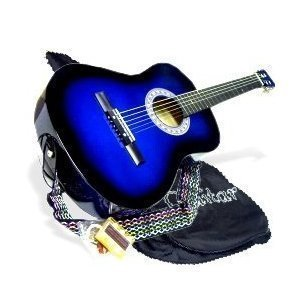 38-BLUE-Acoustic-Guitar-Starter-Beginner-Package-Guitar-Gig-Bag-Extra-String-DirectlyCheapTM-Translucent-Medium-Guitar-Pick-BU-AG38