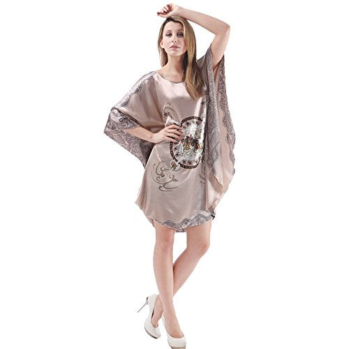 Women's Dolman Sleeved Round-neck Loose Satin Silk Nightgown/ Sleepdress, winter jammies, warm nightgowns, hot flashes