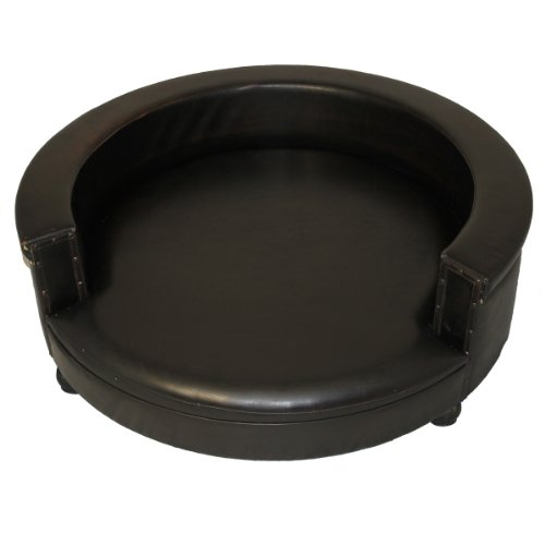 Celebrity Faux Leather Half Circle Sofa Couch Pet Bed